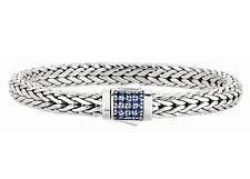 Phillip Gavriel Men's Sterling Silver 7mm Wheat Chain Blue Sapphire Bracelet
