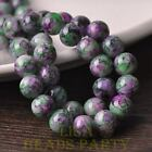 New 15pcs 10mm Round Glass With Color Coated Loose Spacer Beads Green&Purple