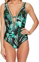 Jantzen Plunge Tropical One Piece Sz. 8 Swimsuit Women's 148431