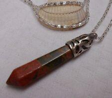 Unique lovely unakite jasper obelisk gemstone pendant silver plated necklace