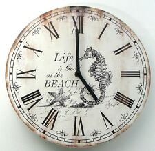 Nautical wall clock w Seahorse Life is Good at the beach Weathered Look - F S