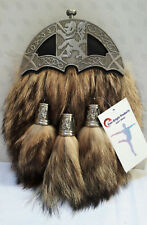 Scottish Kilt Original Fox Fur Full Dress Sporran Antique Chrome Lion Cantel