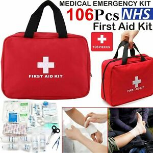 106 PIECE FIRST AID KIT MEDICAL EMERGENCY TRAVEL HOME CAR TAXI WORK 1ST AID BAG