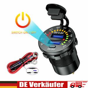 Auto Steckdose Dual USB Ladegerät Buchse Motorrad KFZ Einbau mit Shalter 12V/24V