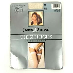Jaclyn Smith Thigh High Stockings Size A Beige Lace Top Sheer Sandalfoot K Mart
