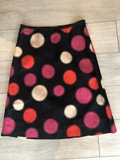 Laura Ashley Black, Red & Pink Spotted Linen Blend Skirt With Pockets Uk12 NWOT