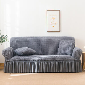Stretch Sofa Pet Cover Skirt 2 3 4 Seater Sectional Couches Furniture Slipcovers