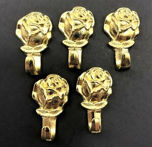 LOT OF 5- Decorative Rose Push Pin Picture Wall Hanger Hook Polished Brass Dry