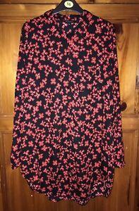 Ladies Long Floral Blouse Shirt Dress Size 16- Peacocks