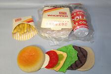 Vintage 1988 Burger King Cheeseburger Whopper Cola Fries Play Food Set