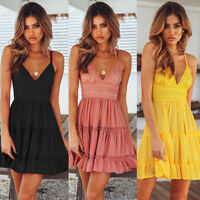 Women Summer Boho Short Mini Dress Evening Cocktail Party Beach Dresses Sundress
