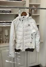 Northface Women's Ski Jacket White With Brown Fur Hood Size M