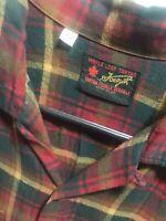 Vintage XL Mens Rayon/Wool Plaid Loop Collar Shirt 50s Rockabilly Forsyth!