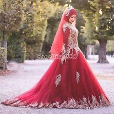 Muslim Red Gold Appliqued  Wedding Dress Long Sleeve Plus Size Bridal Gown