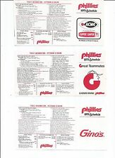 3 Different Unfolded MLB Baseball Pocket Schedules Philadelphia Phillies 1979