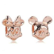 DIY 2pcs Minnie Mickey Rose Gold European Charm Beads Fit Necklace Bracelet !!