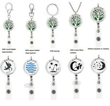 Retractable Stainless Steel  ID Badge Holder Diffuser locket Keychain Necklace