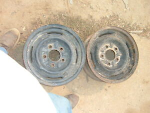 """TWO 1960's GM CADILLAC BUICK OLDS 14"""" x 6""""  STEEL WHEEL 5 on 5""""  GM"""