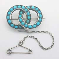 Late Georgian / Victorian 800 Silver & Turquoise Entwined Circles Brooch