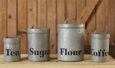 Rustic Galvanized Iron Kitchen Canisters Flour Sugar Coffee Tea Set 4 Farmhouse
