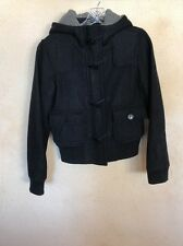 Jacob Connexion, Black Zip Coat, Wool/Polyester, Size P/S with Hood