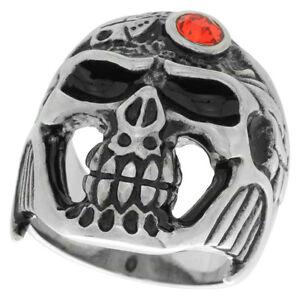 Stainless Steel Gothic Biker Skull Ring w/ Red CZ Stone Jeweled Helmet