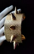 QUALITY SPIKE BANGLE CUFF CHIC STATEMENT BRACELET WIDE BRUSHED GOLD METAL