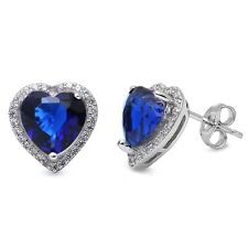 Blue Sapphire Heart & Cubic Zirconia Studs Style .925 Sterling Silver Earring