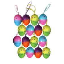 Pack of 16 Two Tone Multicolour Glitter Hanging Easter Eggs - Bonnet Decoration