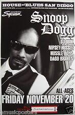 SNOOP DOGG / DJ QUIK 2009 SAN DIEGO CONCERT TOUR POSTER - Hip Hop, Rap Legend!