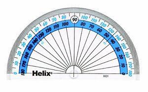 Helix 180 Degree Protractor School Protractor Semi Circle 10cm New H01040