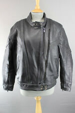 AKITO RAPIDE BLACK LEATHER BIKER JACKET WITH REMOVABLE BACK PROTECTOR, SIZE 14