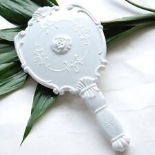 Vintage Cosmetic Mirror Plastic Makeup Mirror Gift Cute Girl Hand Make Up(White)