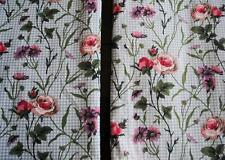 "Pair Vtg Laura Ashley Rare Curtain Panels Floral Green Gingham Check Plaid 86"" L"