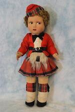 """c.1930 14"""" English Cloth Doll Alpha Farnell Scottich lad in Red Scottish Costume"""