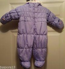 London Fog Girl's Purple w/ Faux Fur Trim on Hat Snowsuit Size 6-9 Months