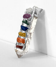 FuNkY Quartz Crystal Point Chakra Stone Unique Silver Pendant Necklace Reiki Hea