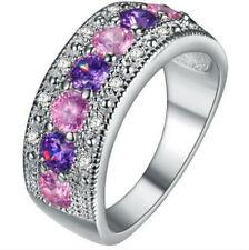 Fashion Women Multi-Color Gemstone Crystal Silver Wedding Ring Jewelry Size 7