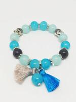 Bracelet Bijoux femme Fantaisie Bleu Turquoise Pompon Perle Bouddha NEUF ref 4