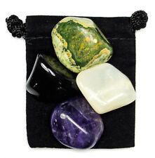 HIGHER GUIDANCE Tumbled Crystal Healing Set = 4 Stones + Pouch + Description