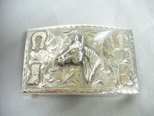STERLING SILVER Western Hand Engraved BELT BUCKLE Horse Head Relief Mint SIGNED