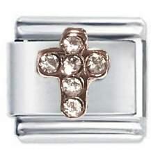 Daisy Charm- Rose Gold Cross & Crystals - Fits Nomination Classic Italian Charm