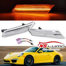 Clear Lens Amber Full LED Bumper Side Marker Light Kit For Porsche 911/997 05-13