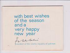 PAKISTAN President 1973 - 1978 Fazal Ilahi Chaudhry Signed Greeting Card