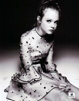 Elle Fanning Signed 8X10 Photo Autograph Black and White Dress GP330594