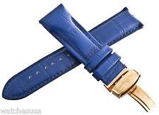 Genuine Techno Master 24mm Dark Blue Leather Watch Band Strap