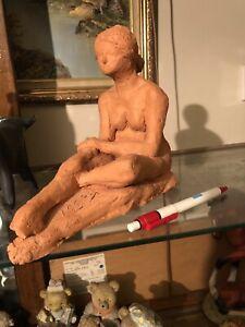 Sculpture Antique Terracotta Signed