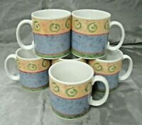 Sakura MALAGA Sue Zipkin Set of 6 Coffee Tea Mugs Cups 1995 Stoneware Disc'd EC