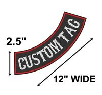 "Custom Embroidered 12"" Side Rocker Vest Patch Motorcycle Biker Patch Club (B)"