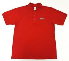 Coca Cola Logo Red Polo Work Shirt Size M Mens
